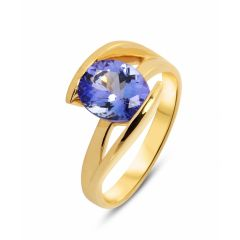 Bague Or Jaune 750 Tanzanite Ovale 10x8mm