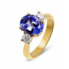 Bague Or Jaune 750 Tanznaite Ovale 10x8mm et Diamant