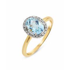 Bague Or Jaune 750 Topaze Bleue Ovale 8x6mm et Diamant