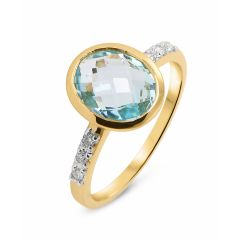 Bague Or Jaune 750 Topaze Ovale 10x8mm et Diamant