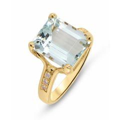 Bague Or Jaune Aigue Marine 11x9mm et Diamant