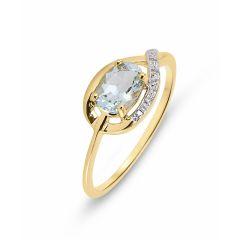 Bague Or Jaune Aigue Marine Ovale 7x5mm et Diamant