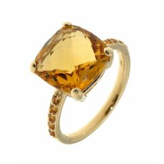 Bague Or Jaune Citrine Coussin 12mm