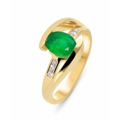 Bague Or Jaune Emeraude Ovale 8x6mm et Diamants