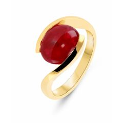 Bague Or Jaune Rubis Cabochon 10x8mm