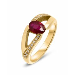 Bague Or Jaune Rubis Ovale 7x5mm et Diamant