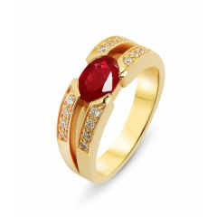 Bague Or Jaune Rubis Ovale 8x6mm et Diamant