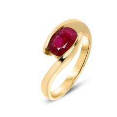 Bague Or Jaune Rubis Ovale 8x6mm