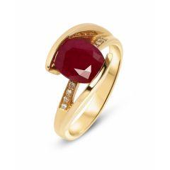 Bague Or Jaune Rubis Ovale 9x7mm et Diamant