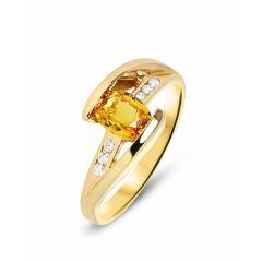 Bague Or Jaune Saphir Orange Ovale 7x5mm et Diamant