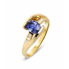 Bague Or Jaune Saphir Ovale 7x5mm et Diamants