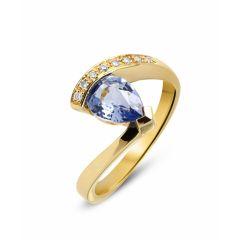 Bague Or Jaune Saphir poire et 8 Diamants