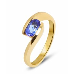Bague Or Jaune Tanzanite Ovale 7x5mm