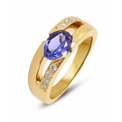 Bague Or Jaune Tanzanite Ovale 8x6mm et Diamants
