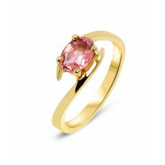 Bague Or Jaune Tourmaline Rose Ovale 7x5mm