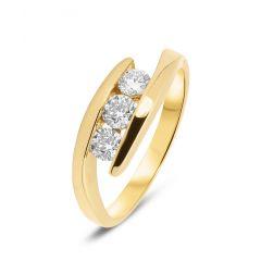 Bague Or Jaune Trilogie  Diamant