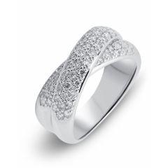 Bague pavage en Or Blanc 750 sertie de 57 diamants pour un poids total de 0,75 carats