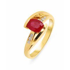 Bague Rubis Ovale 7x5mm et Diamant Or Jaune