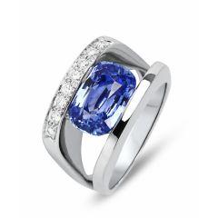Bague Saphir Ceylan Coussin et Diamant sur Or Blanc