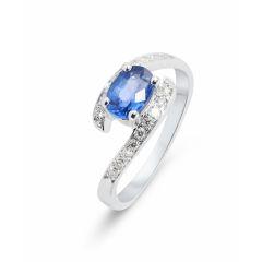 Bague Saphir Or Blanc 7x5mm et Diamants