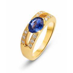 Bague Saphir Ovale 8x6mm Or Jaune et Diamants