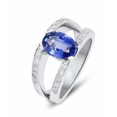 Bague Saphir ovale 9x7mm et Diamant en Or Blanc