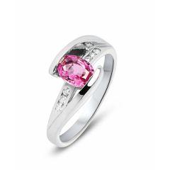 Bague Saphir Rose Ovale et Diamant Or Blanc