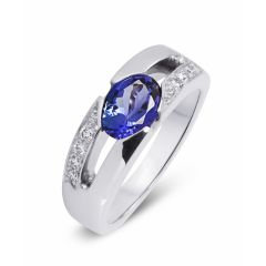 Bague Tanzanite Ovale 8x6mm et Diamant Or Blanc