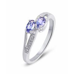 Bague Toi et Moi Tanzanite et Diamant en Or Blanc 375