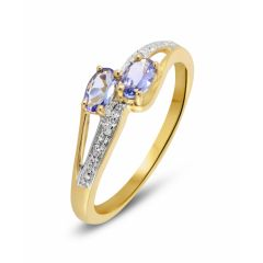 Bague Toi et Moi Tanzanite et Diamant en Or Jaune 375