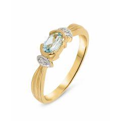 Bague  Topaze bleue traitée 6x4mm et Diamant en Or Jaune 375