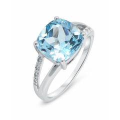 Bague Topaze bleue traitée  Coussin 10mm et Diamant Or Blanc 375