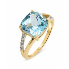 Bague Topaze bleue traitée  Coussin 10mm et Diamant Or Jaune 375