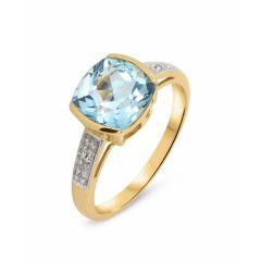 Bague  Topaze bleue traitée Coussin 8mm et Diamant en Or Jaune 375