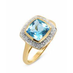 Bague Topaze bleue traitée Coussin 8mm et Diamant Or Jaune 375
