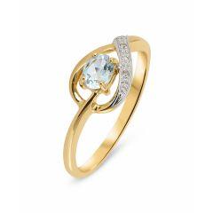 Bague Topaze bleue traitée  Ovale 5x4mm et Diamant en Or Jaune  375