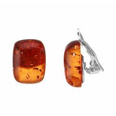 Boucles d'oreilles à clip Argent Ambre Coussin 14x12mm