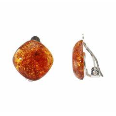 Boucles d'oreilles à clip Argent Ambre Coussin 14x14mm