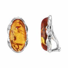 Boucles d'oreilles à clip Argent Ambre ovale 20x10mm