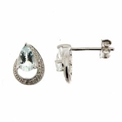 Boucles d'oreilles Aigue Marine Poire 6x4mm et Diamant en Or Blanc 375
