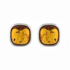 Boucles d'oreilles Ambre Coussin et Argent 925