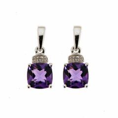 Boucles d'oreilles Améthyste Coussin 6mm et Diamant en Or Blanc 375