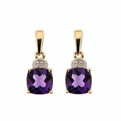 Boucles d'oreilles Améthyste Coussin 6mm et Diamant en Or Jaune 375
