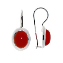 Boucles d'oreilles Argent Cornaline Ovale 10x8mm