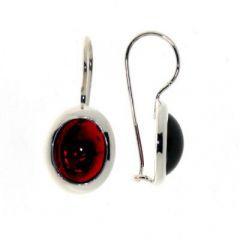 Boucles d'oreilles Argent Grenat Cabochon 10x8mm
