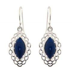 Boucles d'oreilles Argent Lapis Lazuli Navette 12x6mm
