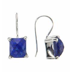 Boucles d'oreilles Argent Lapis Lazuli Rectangulaires 12x10mm