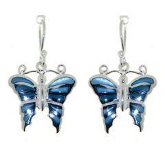 Boucles d'oreilles Argent  Nacre Bleue Motif Papillon