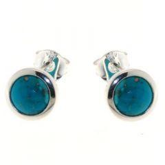 Boucles d'oreilles Argent Turquoise Ronde 7mm