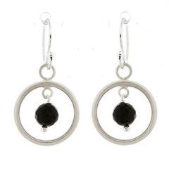 Boucles d'oreilles Cercles  Argent 925 Satiné et Onyx